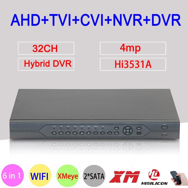 4MP, 1080 p, 960 p, 720 p, 960 H Telecamera di Sorveglianza Hi3531A 32CH 32 Canale 6 in 1 Coassiale Hybrid NVR CVI TVI AHD DVR di Trasporto Libero