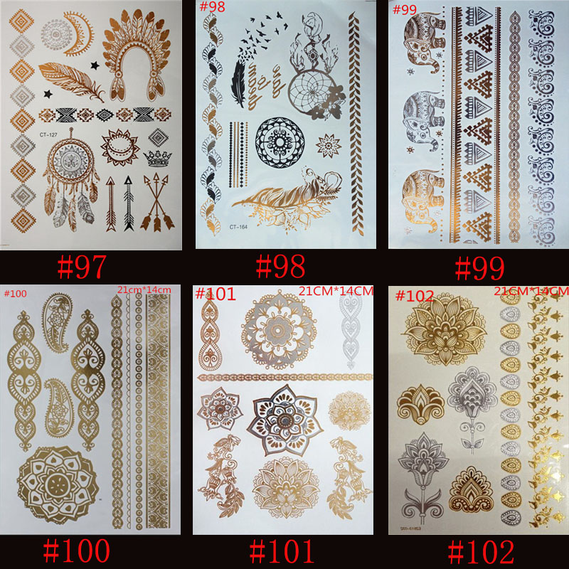 6pcs High Quality Gold Blue Temporary Tattoo Body Art Metallic Silver Metallic Tattoos Gold Wholesale Foil Golden Jewelry