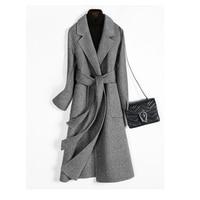 Осенне зимнее шерстяное пальто женское 2019 модное длинное пальто с поясом пиджаки элегантные офисные женские тренчи Casaco Feminino
