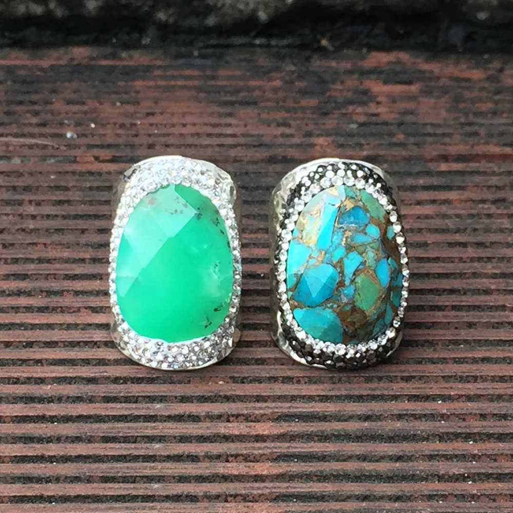 BOROSA ธรรมชาติ Turquoises แหวนแฟชั่น Labradorite สีดำ Agates แหวนสำหรับงานปาร์ตี้ครบรอบ
