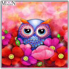 MOONCRESIN 3D Diy Diamond Painting Cross Stitch Owls In The Flowers Mosaic Full Round Embroidery Decoration Kits