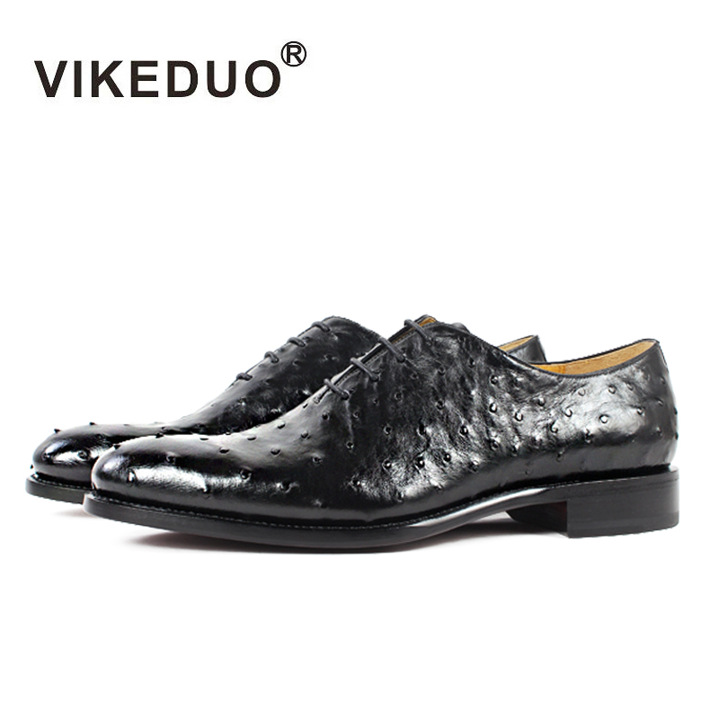 Vikeduo 2018 Hot Handmade Brand Designer Black Luxury Fashion Party Wedding Ostrich Male Dress Genuine Leather Men Oxford Shoes раковина aquanet сопрано 169396