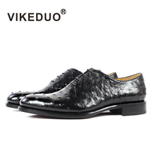 Vikeduo 2019 Hot Handmade Brand Designer Black Shoes Fashion Party Wedding Ostrich Male Dress Genuine Leather Men Oxford