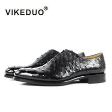 купить Vikeduo 2019 Hot Handmade Brand Designer Black Shoes Fashion Party Wedding Ostrich Male Dress Genuine Leather Men Oxford Shoes по цене 31600.36 рублей