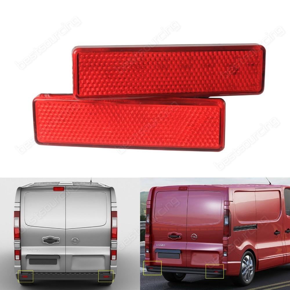 2x Red Lens Rear Bumper Reflector For Vauxhall / Opel Vivaro Movano A  For Nissan Primastar(CA329) 2pcs red lens rear bumper reflector light lamps pair for nissan x trail 2008 2013