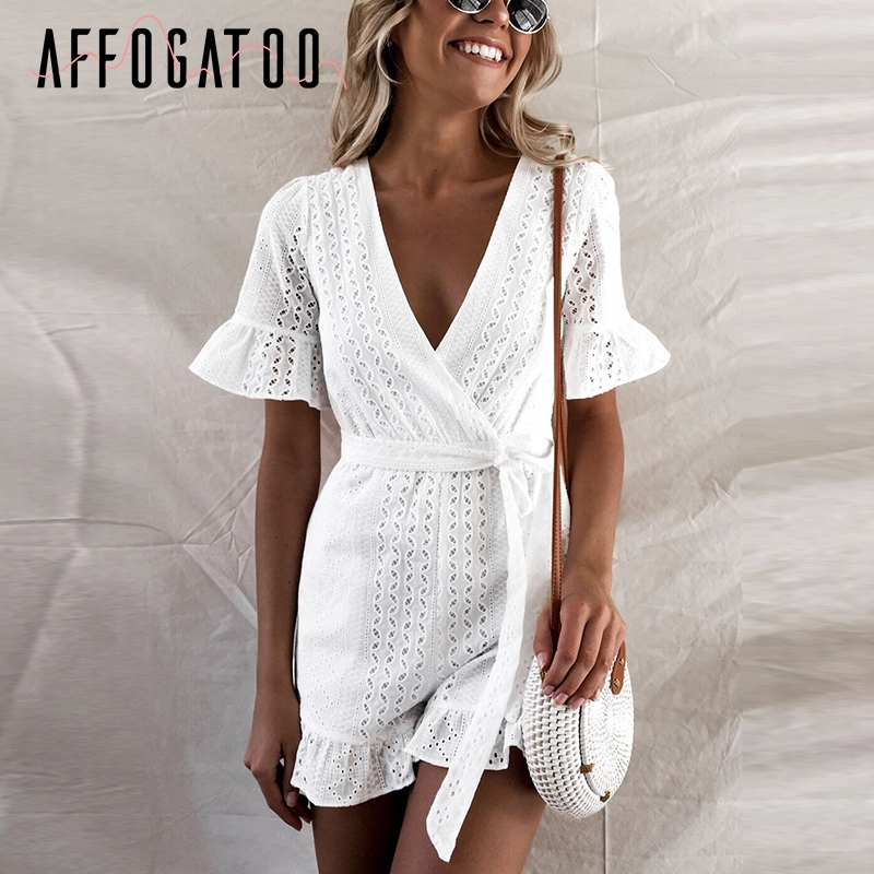 Affogatoo Sexy v neck ruffle romper women   jumpsuit   Elegant high waist cotton short   jumpsuit   Embroidery sash playsuit summer 2019
