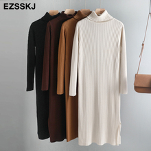 2019 oversize autumn winter maxi sweater dress women long sleeve female basic long straight turtleneck loose sweater dress chic