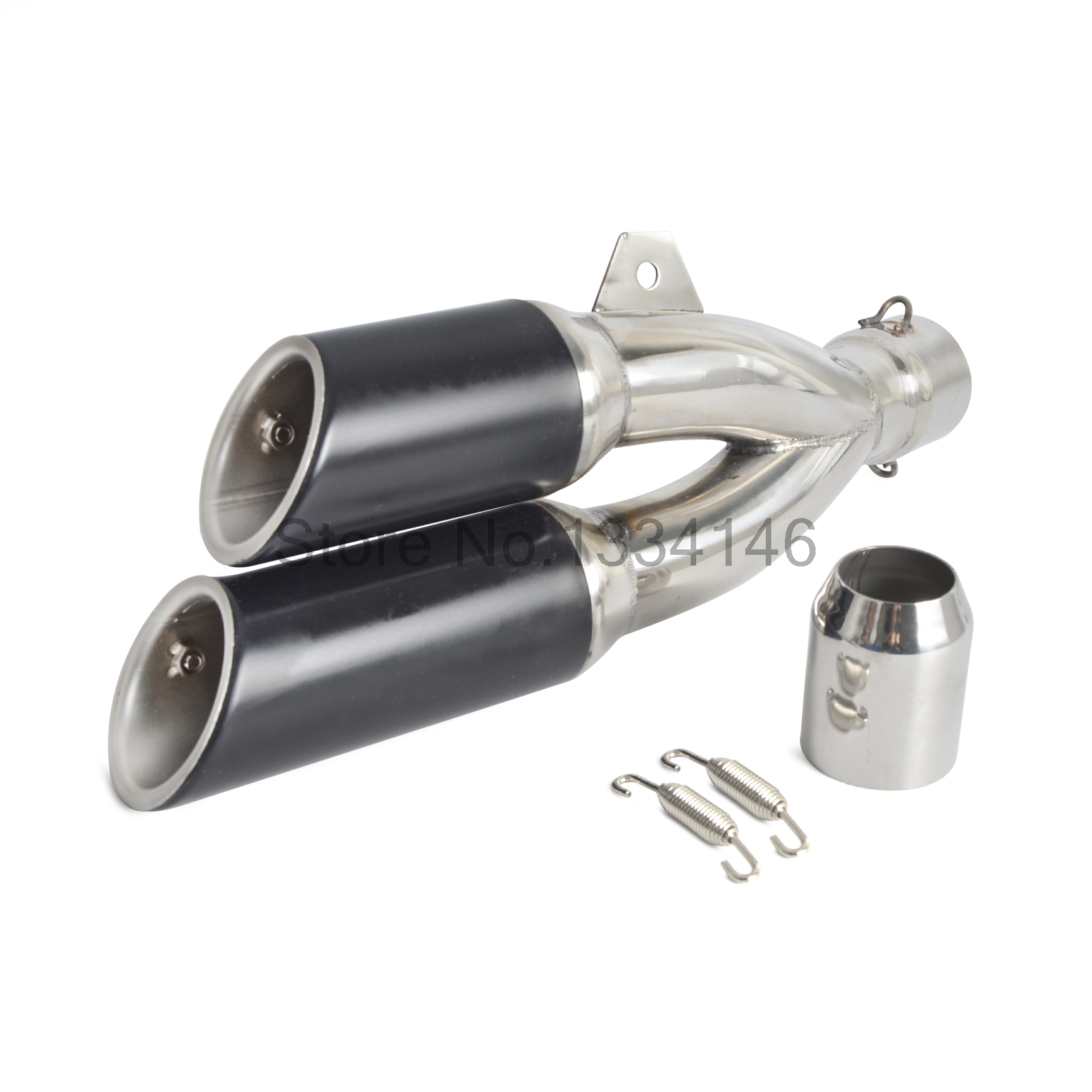 38mm-51mm Slip On Dual Exhaust Muffler Vent Pipe For Scooter Motorcycle Street Bike Motocross Supermoto