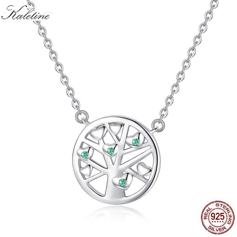 Kaletine 925 Sterling Silver Pendant Necklace Tree Of Life Round