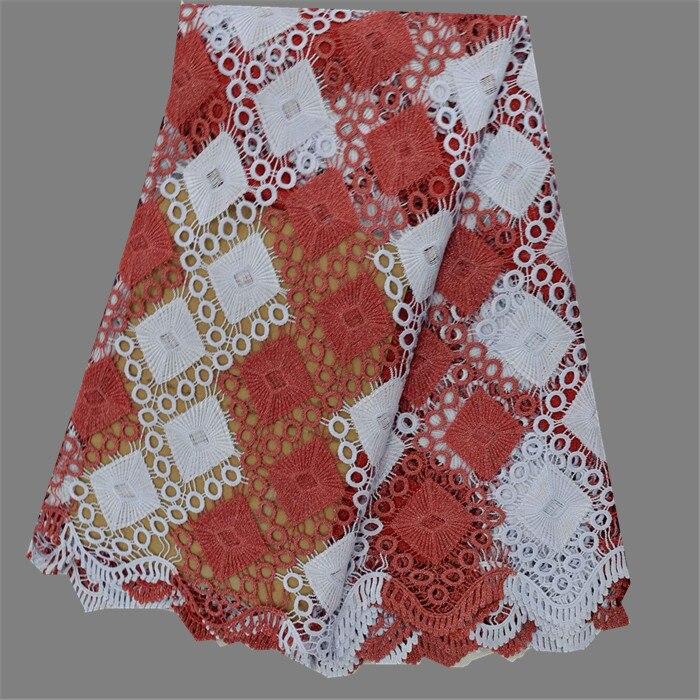 e61caf26d لطيفة نمط الأحمر + الأبيض التطريز للذوبان القماش الأفريقي جبر أقمشة  الدانتيل ل فستان الزفاف EW106-2 (5 ياردة/pc)