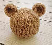 Crochet teddy bear Hat, Newborn bear hat, Baby teddy bear shapka, Brown teddy bear hat Newborn photo prop