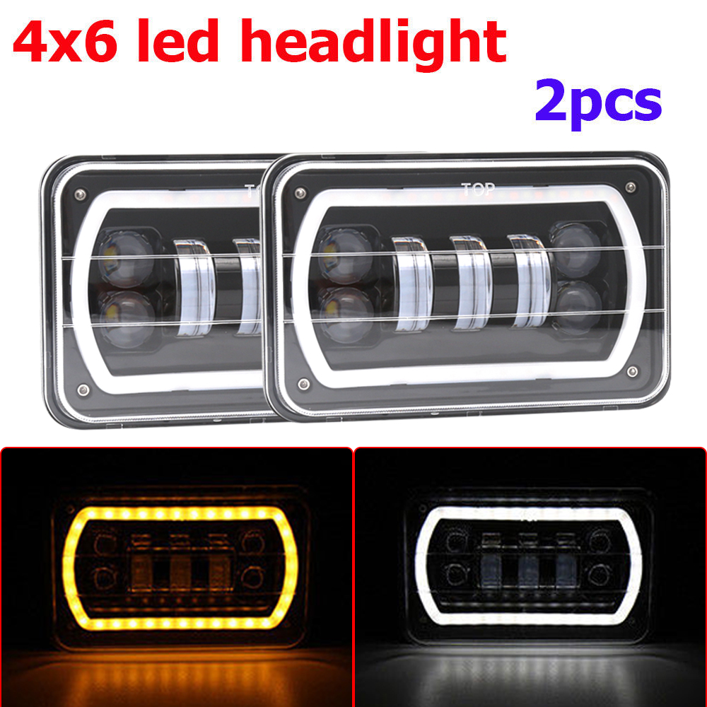4x6'' <font><b>Square</b></font> LED H4 <font><b>Headlights</b></font> High Low Beam Reflector Replacement DRL Offroad Headlamp For Jeep Wrangler image
