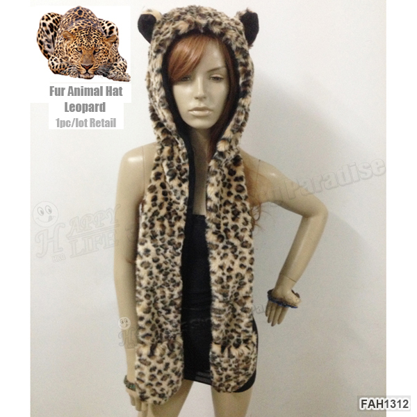 Бесплатная Доставка 1 шт./лот Мода Leopard Полный Животных Гуд Hoddie Hat Искусственного мех С Ушами и Руки Карманы 3 В 1 Функции