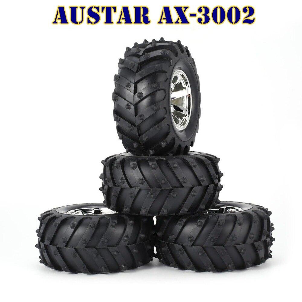 AUSTAR 4 * Roue 1:10 AX-3003/4 Pneu pour RC BigFeet AX-3002 RimRubber Pneu En Plastique hub BEADLOCK pour Bigfoot Monstre Camion HSP HPI