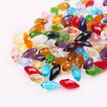 Wholesale 50pcs 6x12mm Clear Fashion Crystal Glass Loose Beads Pendant Colorful Tear Drop Briolette Waterdrop Jewelry DIY Bead