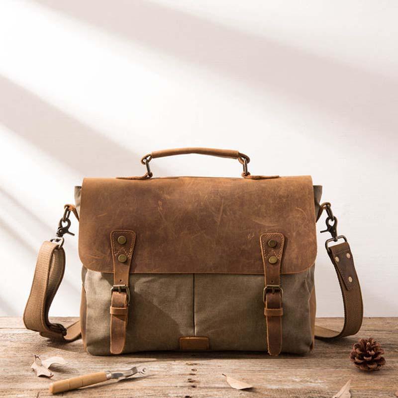 Vintage Leather Canvas men briefcase Business bag Portfolio men office bag male canvas briefcase attache case