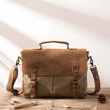 Vintage Leather + Canvas men briefcase Business bag Portfolio office male canvas attache case document tote