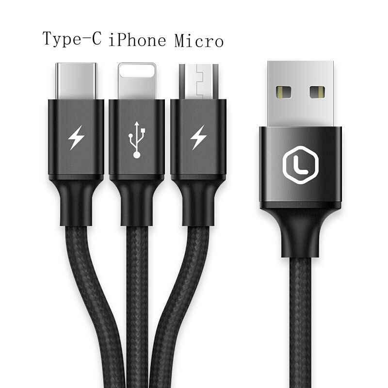 3 trong 1 USB C Cáp Micro USB Cáp USB 3.0 Mở Rộng Cáp 3A Nhanh Phí Cho Samsung xiaomi dex huawei oneplus Tablet LG Doogee