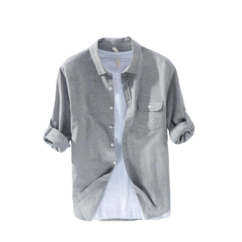 Casual Shirts Gray Color Long-sleeved Linen Shirt Men Brand Fashion Men Shirts Turn-down Collar Casual Mens Shirt 3xl Camisa Social Masculina