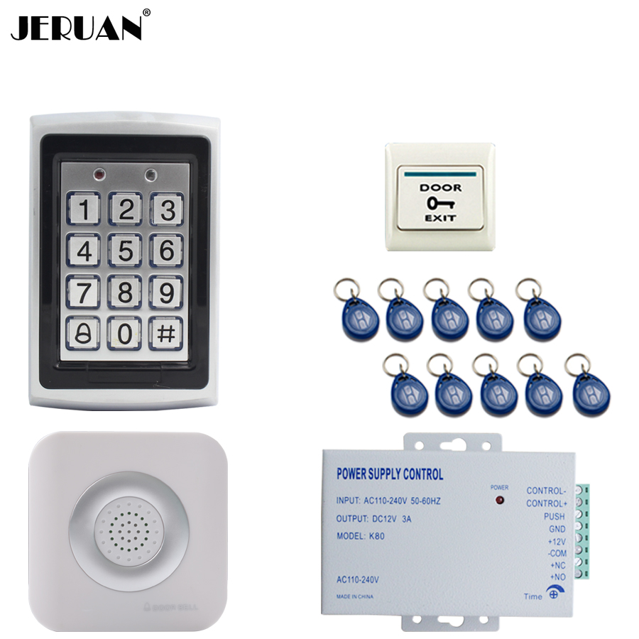 JERUAN RFID Password Access Controller Metal Waterproof Backlight button Door control system kit + Doorbell + 12V power supply jeruan metal waterproof rfid password touch access controller system kit speaker doorbell remote control in stock free shipping