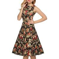 Top Fitness Classics Vintage Women S Printed Dress Sleeveless Big Bottom Swing Dress Elegant Autumn Short