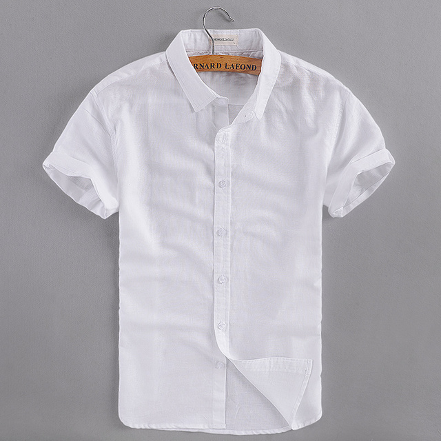 7338d4f8498 2017 новая брендовая белая рубашка мужская летняя с коротким рукавом  Повседневная мужская рубашка модные хлопковые рубашки