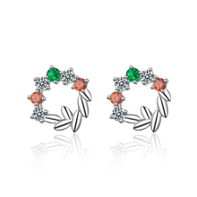 Everoyal Charm Crystal Flower Gold Stud Earrings Girls Accessories New Fashion Silver 925 Sterling Jewelry For Women