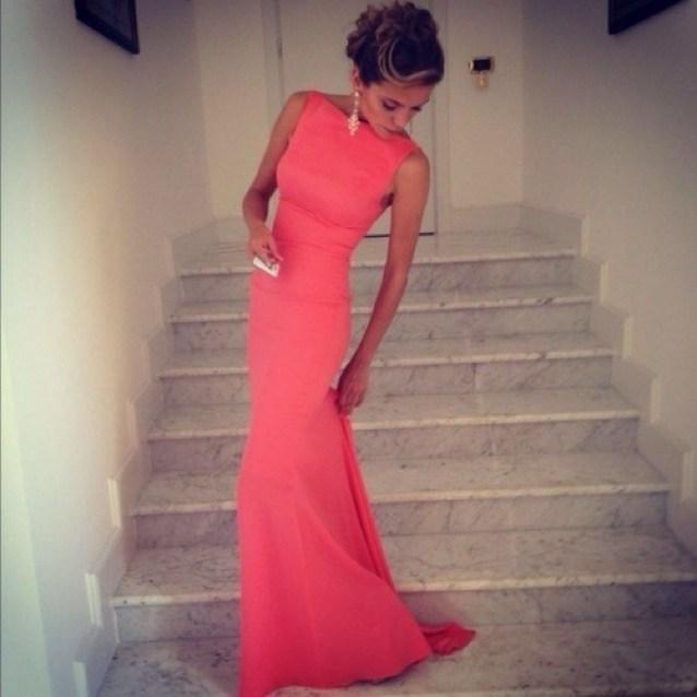 Коралл пром платья винтажный бато высокая шея с низким вырезом на спине вечерние платья длинная коралл платье встроенное пляж макси платья