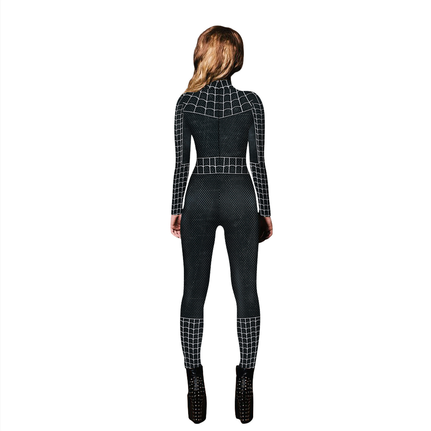 VIP FASHION 2020 New Cosplay 3D Black Spider Printed Super hero Costume Women Movie Cosplay Bodysuit For Women