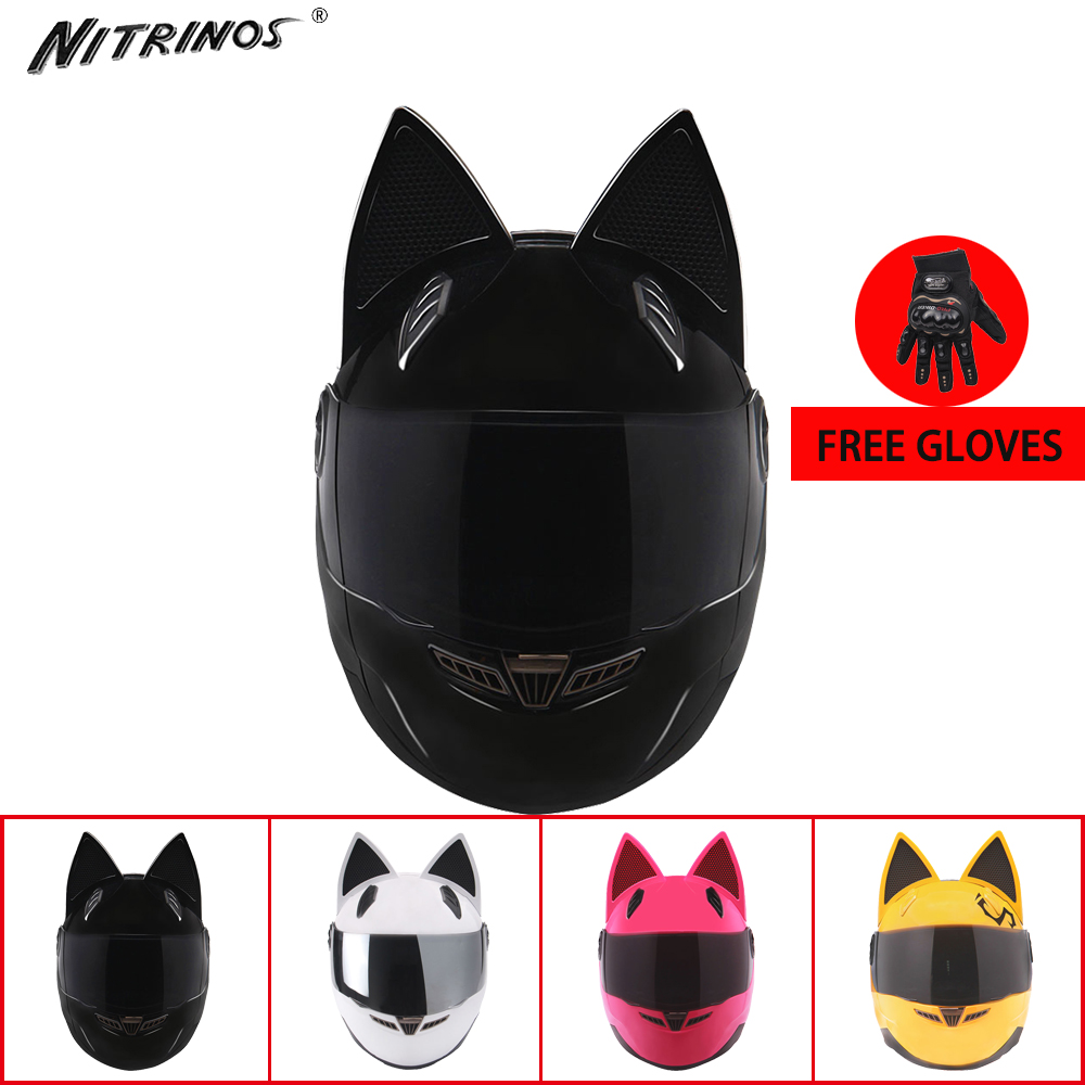 NITRINOS Motorcycle Helmet Women Moto Helmet Personality Cat Ear Full Face Helmet Motorbike Helmet 4 Colors