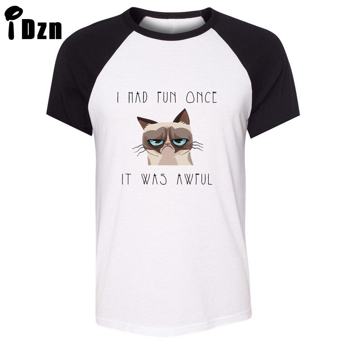 iDzn Raglan Short Sleeve Men T shirt Funny Grumpy Cat Quotes I Had ...