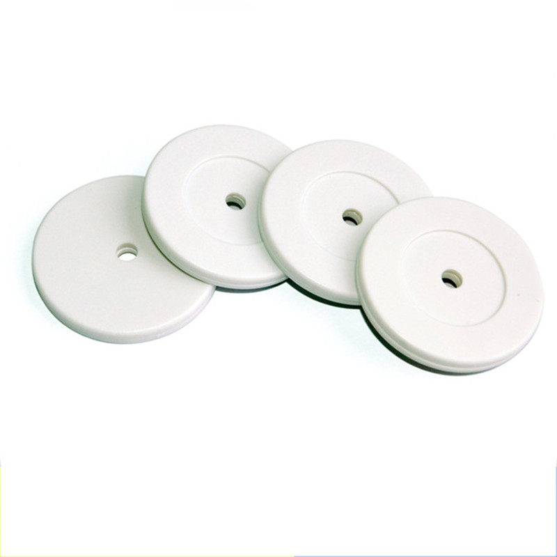 125khz ID Round Coin Card ABS Dia.35mm Proximity RFID White Tag With Hole For Access Control Guard Tour Patrol System 100PCS 10pcs sample 125khz rfid abs waterproof patrol button id patrol point