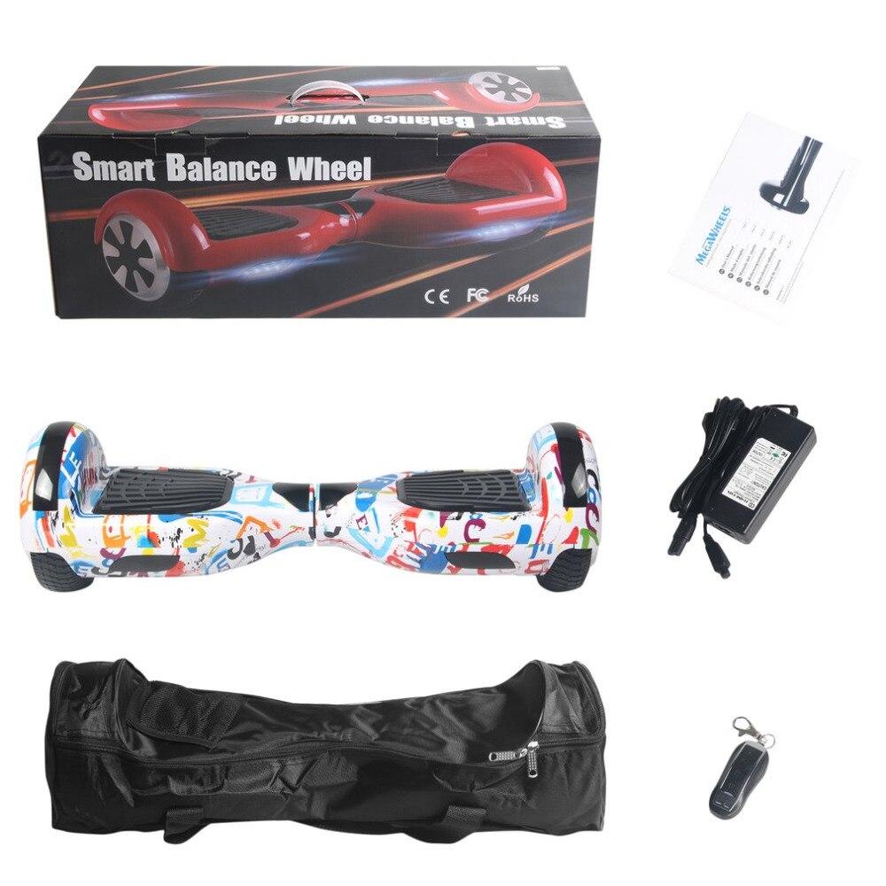 6.5 Pouce Auto Équilibrage Scooter Électrique LED Électrique Skate Board Support Bluetooth Haut-Parleur Fonction avec Télécommande et sac