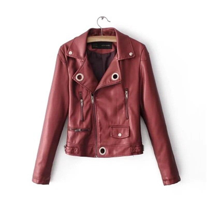 Courte Minceur Bombardiers Nouveau De En Pu Mode rouge Style Rose blanc Veste Solide Printemps Section Cuir Manteau Élégant Femmes Moteur n0fqAACzwx