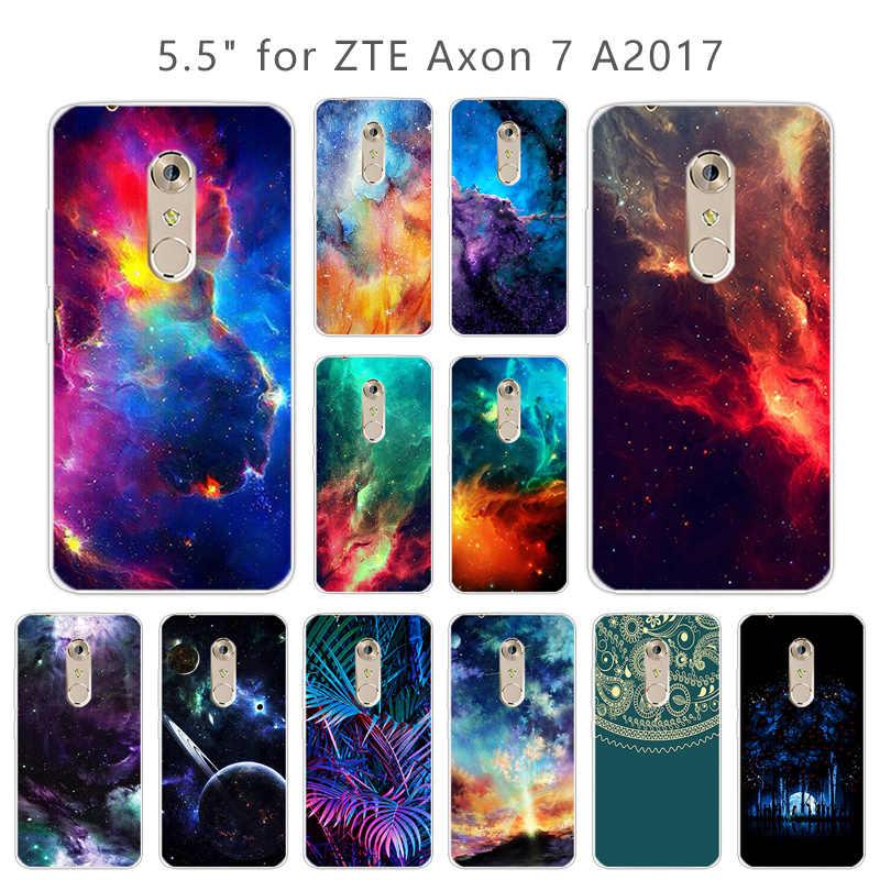 """Yumuşak Silikon ZTE Axon 7 Telefon Bulutsusu arka kapak 5.5 """"Şeffaf TPU Kılıfları ZTE Axon 7 için Ince Coque için Akson A2017 Ince Çapa"""