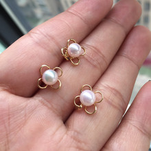 Women Gift word 925 Sterling silver real Long-lasting natural Japanese Akoya seawater pearl set Earrings Pendant 5.5mm
