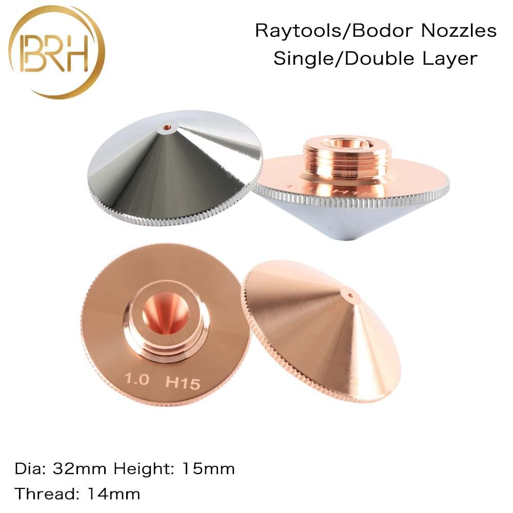 BRH Raytools Nozzle Single/Double Layer Dia.32mm Caliber 0.8-5.0mm For Empower Fiber Laser Head Bodor Glorystar Laser Machine