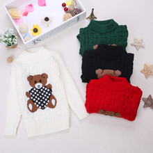 Autumn/Winter Knitted Pullovers O-Neck Warm Sweater Cartoon Bear Children Sweaters Baby Girls Clothes Kids Boys Outerwear