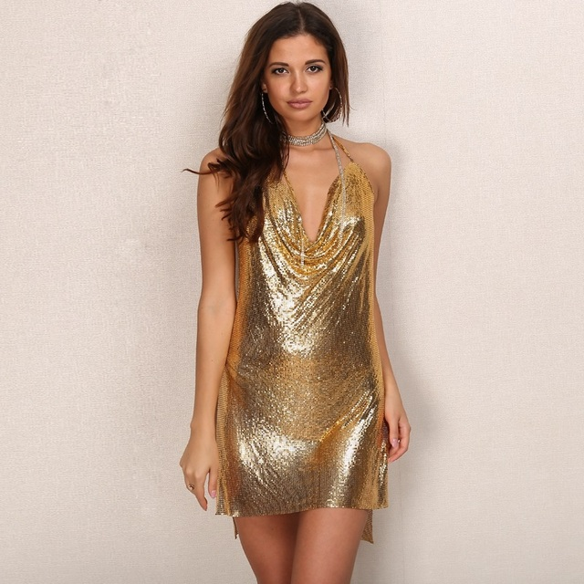 820d1b48a4 2017 Kendall Jenner Birthday Party Dress Shinning Sliver Sequin Dresses  Backless Mini Vestidos Fashion Women Nightclub