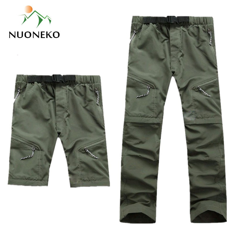 NUONEKO New Mens Removable Quick Dry Hiking Pants Sport Outdoor Summer Breathable Trousers Climbing Trekking Fishing Shorts PN07