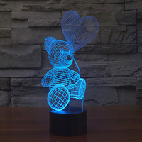 Cute Bear Withe Heart Bubble 3D Night Light Cartoon Building Light For Bedroom