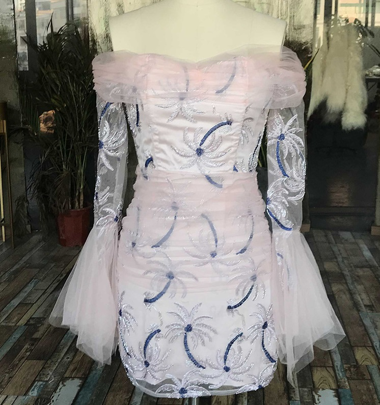 Уличный шик, милое Сетчатое мини платье с вышивкой кокосовой пальмы, женское сексуальное розовое платье с вырезом лодочкой, летние вечерние платья 2019 - 5