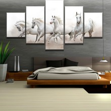 Frame 5 Piece Canvas Art White Arabian Horses Modern Decorative Paintings on Wall for Home Decorations Decor