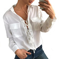 2017 Spring New Brand Casual Solid Women's Shirt Blouses Long Sleeve Turn Down Collar Pockets Hot Sale White Blusas Shirts Lq560