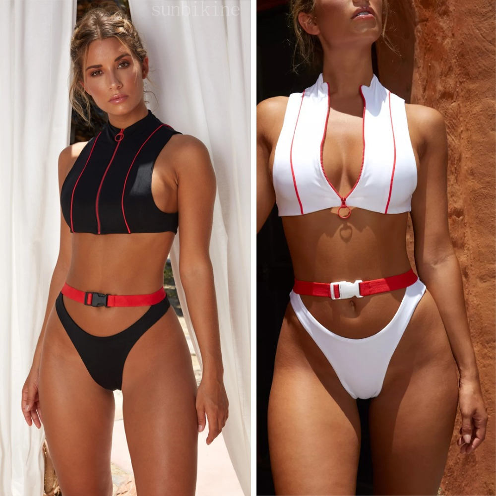 Cheeky Thong Sexy Zip Buckle Patchwork Bikini Set 2018 Swimwear Brazilian Push Up Swimsuit Cut Out Bandage Biquini Set For Women