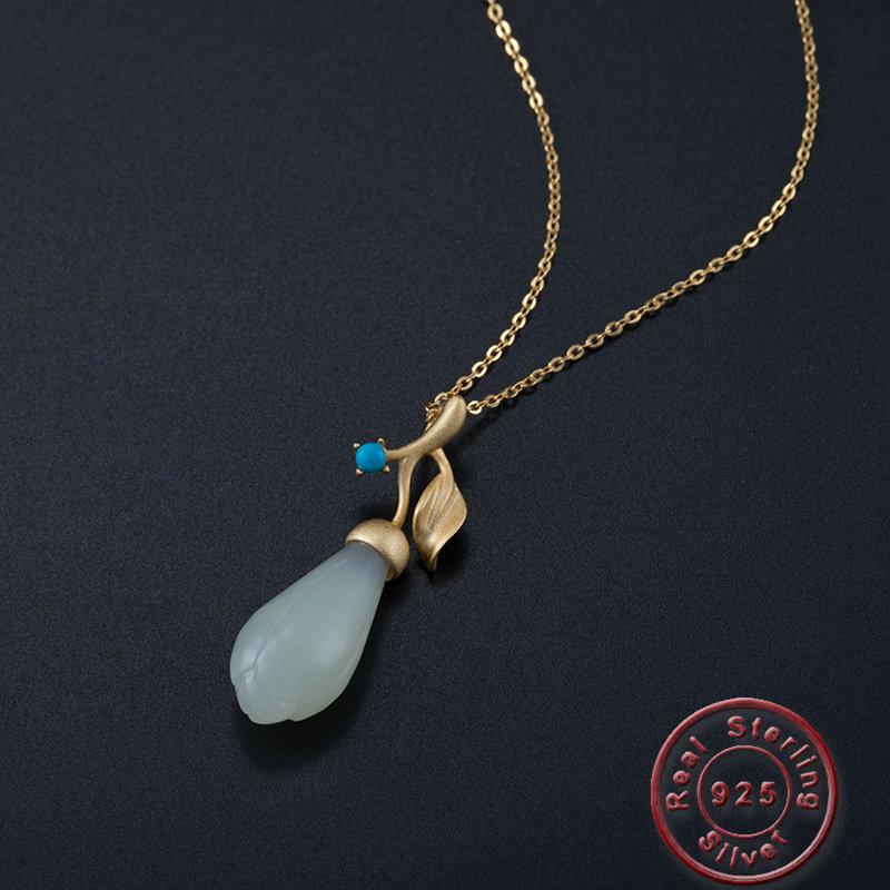 Amxiu collier ras du cou fleur bourgeon fait main collier couleur or Vintage pierres naturelles 925 collier en argent Sterling pour femmes cadeau