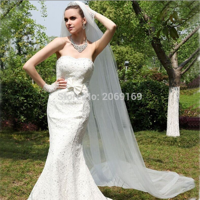 2020 New Style One Layers 3 M White Bridal Veils Soft Tulle With Comb Flor Cabelo Casamento Noiva