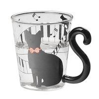 AIMA 1x Lovely Cat Glass Mug Tea Milk Coffee Cup With Tail Handle New