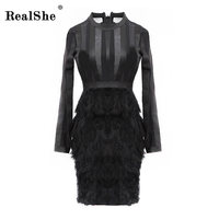 RealShe 2018 Sexy Summer Dress Women Fashion Round Neck See Through Feather Sexy Dress Ladies Party