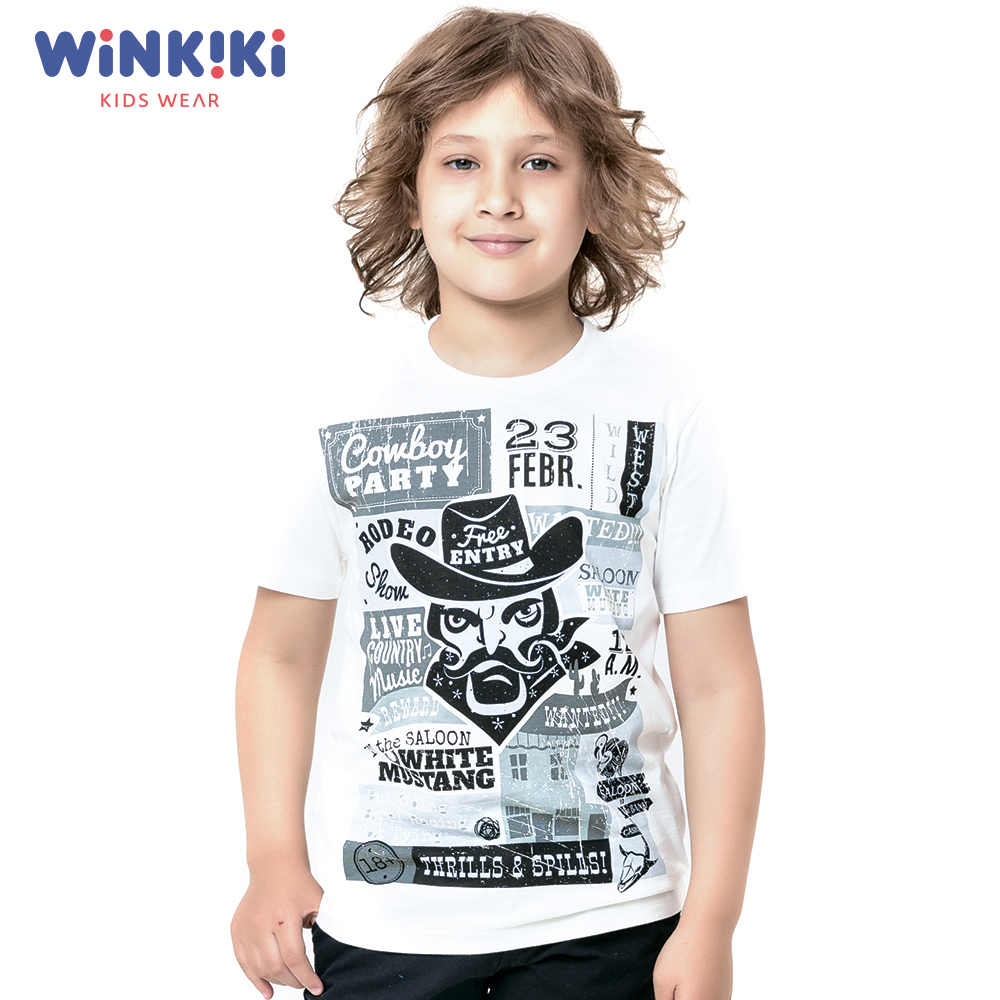 T-Shirts WINKIKI WJB91390 T-shirt kids children clothing Cotton White Boys Casual shein kiddie white cartoon print casual t shirt toddler girl tops 2019 spring fashion short sleeve girls shirts kids tee